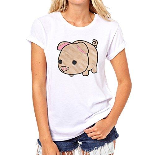 Pig Animal Farm Hog Brown Damen T-Shirt Weiß