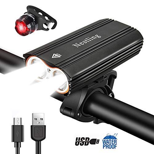 Nestling®Luz Bicicleta,Luz Bicicleta LED Recargable USB con 4 Modos 2400 Lúmenes IP65 Impermeable...