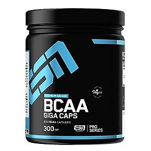 ESN BCAA Giga Caps – 300 Kapseln – hochwertige verzweigtkettige Aminosäuren – 25 Trainingsportionen – 350 g – vegan – Made in Germany