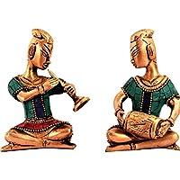 Juego de estatuas de latón morado con diseño de músico con piedras preciosas, recuerdo de decoración contemporánea (11192)