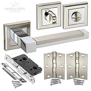 New Bathroom Door Pack Handles, Lock, Turn & Hinges H61 HB PACK - from Handle King