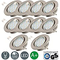 LED built-in ceiling spotlights | Recessed lighting 3W LED | Set of 10 rotary lights 250 Lumen | Eco friendly downlight | GU10 fitting | bulbs included EEC A+