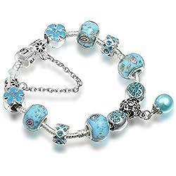 A TE® Armband Charms Blau Glas Blumen Emaille Beads Damen Geschenk #JW-B95