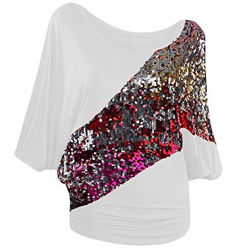 Damen T-Shirt Blusen pailletten Bat Shirt Kurz Hülse fledermaus große größen Rundhalsausschnitt Stitching indisch Atmungsaktiv Weiß