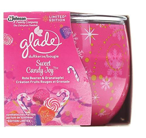 Glade 6er Pack Duftkerze - Sweet Candy Joy - bis zu 30 Stunden - 120 g - Funktioniert Granatapfel