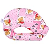 MomToBe Pink Bear Feeding Pillow With Front Pocket - HD Foam 100% Cotton Fabric