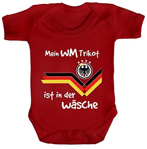 Germany Fußball WM Fanfest Gruppen Strampler Bio Baumwoll Baby Body kurzarm Jungen Mädchen Deutschland - Mein WM Trikot ist in der Wäsche, Größe: 6-12 Monate,Red
