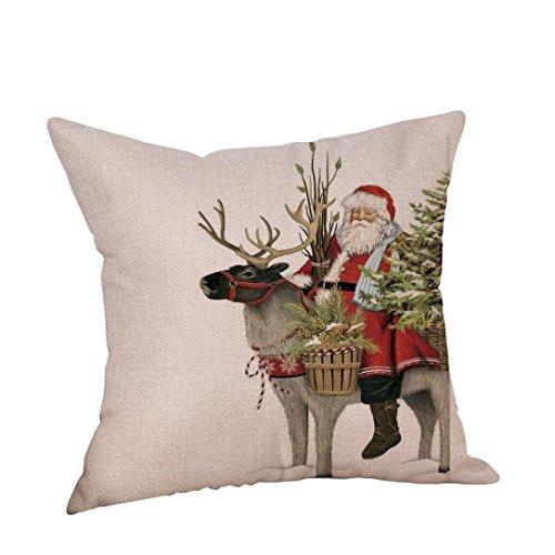 ubabamama Weihnachten Santa Claus Hirsch Leinen Kissenbezug Werfen Kissen Fall Schlafsofa Home Decor 45,7x 45,7cm F