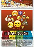 WOW Emoji Design Latex Balloons (Pack of 8)