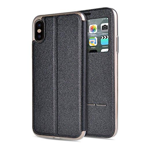 """MOONCASE iPhone X Flip Cover, [Window View Style] PU Cuir Étuis Case Built-in Support TPU Antidérapant Housse de Protection pour iPhone X 5.8"""" Or Rose Noir"""