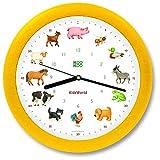 KOOKOO KidsWorld amarillo, reloj de pared genuino, sonidos de animales naturales, 12 animales de la ganja, ilustraciones Monika Neubacher-Fesser, sensor de luz