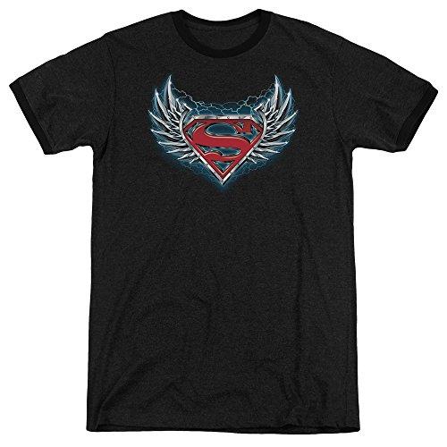Superman Herren Stahl Flügel Logo Ringer T-Shirt, XXX-Large, Black (Ringer Flügel)
