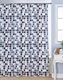 #6: Bianca Polyester Waterproof Printed Shower curtain with 12Pc Hooks(Grey, 72x80-inch)