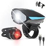 Fahrradlichter Set, Tomshine Led Fahrradlicht Vorne USB Fahrrad Beleuchtung 6 Modi Fahrradlampe Set 250LM Wasserdicht Fahrrad Frontlicht Rücklicht