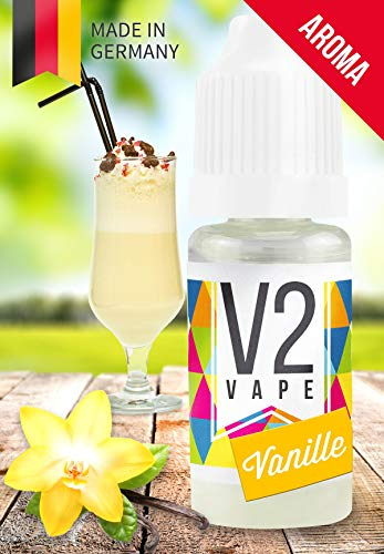 V2 Vape Vanille AROMA / KONZENTRAT hochdosiertes Premium Lebensmittel-Aroma zum selber mischen von E-Liquid / Liquid-Base für E-Zigarette und E-Shisha 10ml 0mg nikotinfrei -