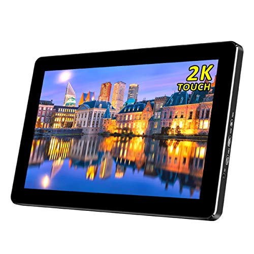 10.1 Inch Mini 2K Portable Touch Monitor with 1440P Resolution IPS Screen USB Type-C/HDMI Input,Powered Via USB,for PS3 PS4 Xbox 360 Mini-PC