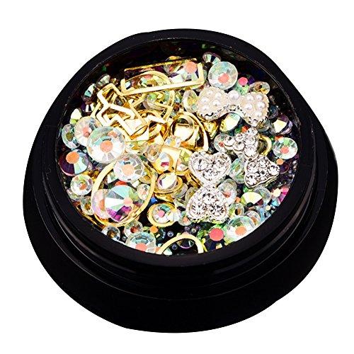 Plissee Strass (Sungpunet Nagellack, Mixed 3D Nagel dekorative Kristall mit flachen und scharfen Plissee und Strass DIY Nail Art (Gold))
