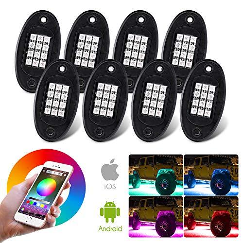 LED Auto Esterni 8 Pack, 96 Led Luci decorativa Interne per Auto con RGB 16 Colori, APP e Telecomando, Impermeabile IP67, 4 Modalità, Musica attivata dal suono, LED Illuminazione Auto Esterno