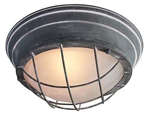 Vintage Wandleuchte/Deckenleuchte, Ø 34cm, im Industrial Used-Look, 2x E27 max. 60W, Metall/Glas, grau Beton