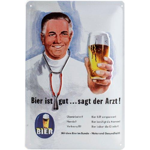 Blechschilder Bier (Nostalgic-Art 22155 Open Bar - Bier ist gut... sagt der Arzt, Blechschild 20x30 cm)