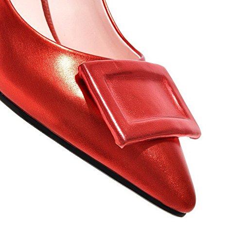 AgooLar Femme Pointu à Talon Correct Matière Souple Couleur Unie Tire Chaussures Légeres Rouge