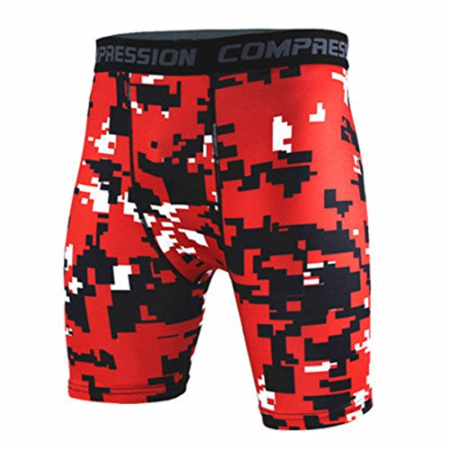 Men's Fitness Bermuda Camouflage Shorts red