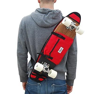 """Rucksäcke für cruiser 26-27"""", in rot. Trendiger Umhängerucksack Crossover Rucksack Schulterrucksack Slingbag Body Bag Crossbag Skaterrucksack. Rucksack mit Skateboardbefestigung"""