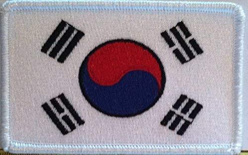 Aufnäher Südkorea Flagge bestickt mit Haken & Schlaufe Travel Morale Patriotische Koreanische MC Biker Schulter White Border Emblem #4 -