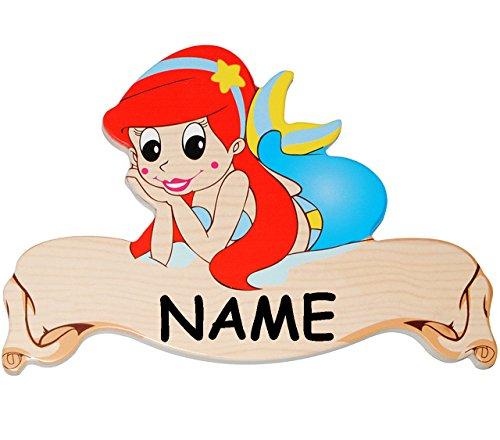 Preisvergleich Produktbild Unbekannt Türschild / Namensschild / Wandbild - aus Holz - Meerjungfrau - Nixe - incl. Name - Schild selbstklebend - für Kinderzimmer / oder Haustier Hundehütte - T..