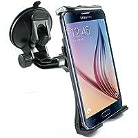 Soporte de Móvil scozzi® 360° para [Samsung Galaxy S9 S8 S7 S6 S5 S5 S4 S3 S2 A3 A5 J7 J5 J3 J1 Xcover   Tab S3 S2 A E   también mini edge plus] Coche Parabrisas Ventosa Negro (ama2)