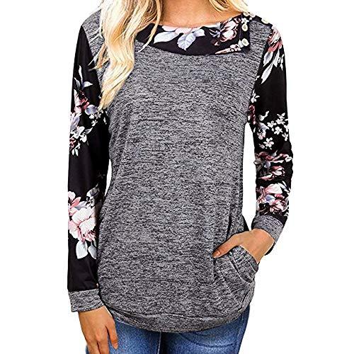 Dtuta Genähtes Langarm-Sweatshirt für Damen, Damen Seitliche Tasten Langarmshirt Pullover Lässige Rundhals Sweatshirt Ellenbogen Gepatcht Hemd Lose T Shirt Blusen Tunika Top