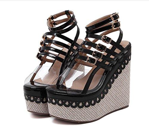 YCMDM Femmes Chaussures Pente Avec Ouvert Toed Sandales Été Nouveau Épais Confortable À Talons Hauts Black