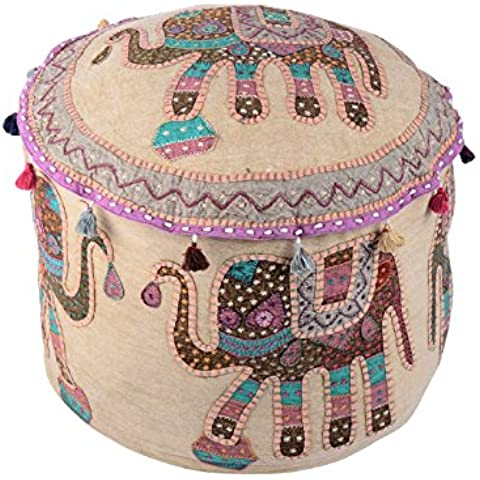 Coperchio ottomano Boemia beige vintage rotonda Elephant