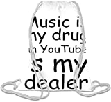 Music Is My Drug On Youtube Slogan Sacca con cordoncino