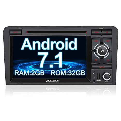 PUMPKIN Android 7.1 32GB + 2GB Autoradio DVD Player Moniceiver für Audi A3 2003-2011 mit GPS Navigation 7 Zoll Bildschirm Unterstützt Bluetooth WLAN DAB+ Fastboot OBD2 Subwoofer CD USB SD 2 Din