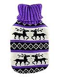 Wärmflasche 1 Liter mit Strick Bezug Motiv Elch lila