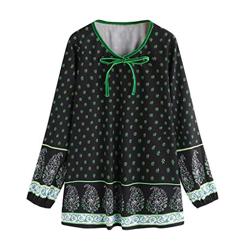 IMJONO Tops T Shirt Bluse Frauen-beiläufiger nationaler Art-Druck-langärmliges Tunika-Hemd übersteigt Bluse GN/M(Medium,Grün)