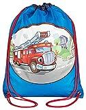 STEFANO Kinder Reisegepäck Waschtasche Turnbeutel Reisetasche Rucksack Trolley oder als Set (M1 Feuerwehr Turnbeutel)