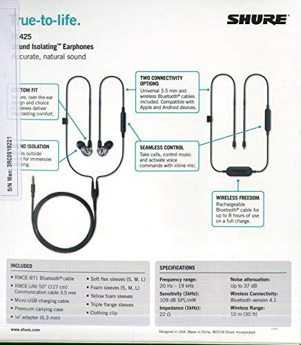 Shure SE425-V+BT1-EFS Sound Isolating Ohrhörer - Bluetooth In-Ear Ohrhörer mit passiver Geräuschunterdrückung & zwei hochauflösenden Treibern - Silber - 2