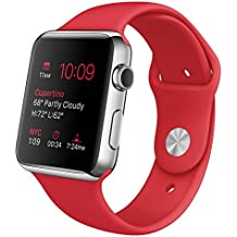 """Apple Watch 42 mm (1ª Generación) - Smartwatch iOS con caja de acero inoxidable en plata (pantalla 1.5"""", Apple S1 a 520 MHz, 8 GB, 512 MB RAM), correa deportiva roja"""