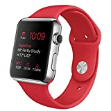 "Apple Watch 42 mm (1ª Generación) - Smartwatch iOS con caja de acero inoxidable en plata (pantalla 1.5"", Apple S1 a 520 MHz, 8 GB, 512 MB RAM), correa deportiva roja"