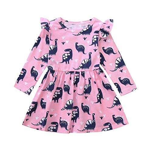 Kleinkind Langarm Kleid Prinzessin Rock Rosennie Kind Baby Mädchen Dinosaurier Druck Party Kleid Outfits Kleidung Kinderkleidung Blumendruck O-Ausschnitt Casual Minikleid für Mädchen(Rosa)