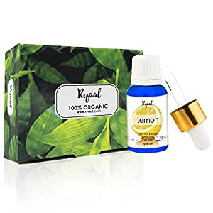 Ryaal Essentials Steam-Distilled Lemon Essential Oil - 15ML- 100% Pure, Natural and Therapeutic Grade - Enriched in Vitamin C and Natural Antioxidants - Ideal for Aromatherapy & for DIY Products - Diffuser-Ready - Perfect Choice for Clean, Clear and Radiant Skin (15ML)
