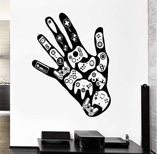 Pbbzl Gamer Hand Vinyl Wandaufkleber Videospiele Spielzimmer Jungen Wandaufkleber Mann Höhle Dekor Persönlichkeit Jungen Teenager Zimmer Wandbild 57X79 Cm (Dekor Teenager Zimmer)