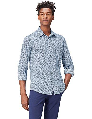Find. camicia con stampa geometrica uomo, blu (navy), large