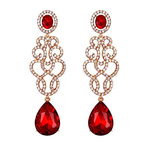 Clearine Orecchini Matrimonio Sposa Cristallo Floreale Filigrana goccia lampadario Orecchini pendenti Rosso colore Oro-fondo