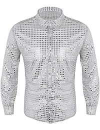 Alvivi Camisas Hombre Camisa De Hombre Lentejuelas Slim Fit Manga Larga  Tops Hombre Manga Corta Talla 954d0a98c31f9
