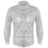 Tiaobug Herren Longsleeve Langarmshirt Hemd mit Kentkragen Pailletten Hemd 70er 80er Disco Shirt Glänzend Bluse Party Hippy Kostüm Outfit Clubwear M L XL Silber L(Brust 117cm)