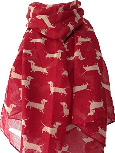 Purple Possum UK - Bufanda - Animal Print - para mujer rojo Red, White