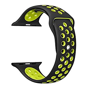 TANTRA 42mm Soft Silicone Replacement Sport Strap I-Watch Band for Apple Watch 42mm Edition & Sport & Apple Watch. (Black + Green)